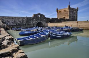 Blue boats of Essaouira in Morocco
